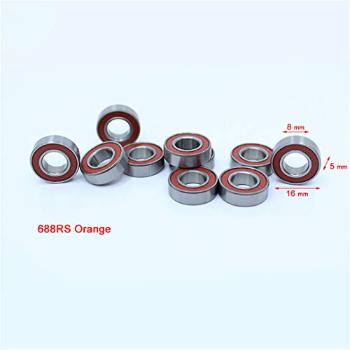 688-2RS Bearing ABEC-3 10PCS 8X16x5 Mm Miniature 688RS Ball Bearings 618/8RS Z3V3 Orange Sealed Bearing 688 2RS ()