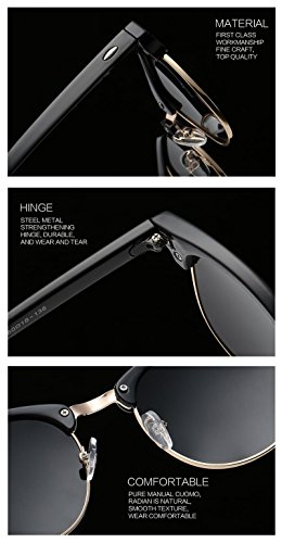 Joopin Semi Rimless Polarized Sunglasses Women Men Brand Vintage Glasses Plaroid Lens Sun Glasses (Blue Mirror Lens)