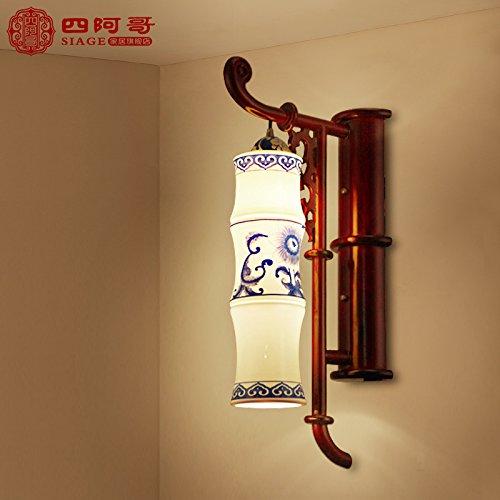 Wandleuchte nach oben und unten Wandleuchtenantiken klassischen Hyun weg gesetzt Holzarbeiten leuchte Leselampe Schlafzimmer lampe Nachttischlampe off road Lights, Bambus zu niedrigen Reifendruck