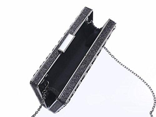 Wedding Fan Women's Clutch Black Bag Case Patterned LeahWard 08 Hard Evening nRY5wxqT