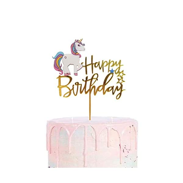 Matt Time Unicorn Happy Birthday Cake Topper Glitter for Kids Boys Girls Party Decorations Gold Acrylic 3