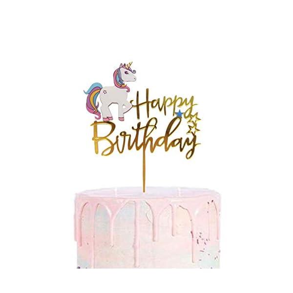 Matt Time Unicorn Happy Birthday Cake Topper Glitter for Kids Boys Girls Party Decorations Gold Acrylic 3