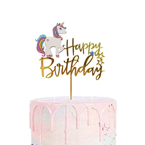 Unicorn Happy Birthday Cake Topper Glitter for Kids Boys Girls Party Decorations Gold Acrylic New Design by Matt Time