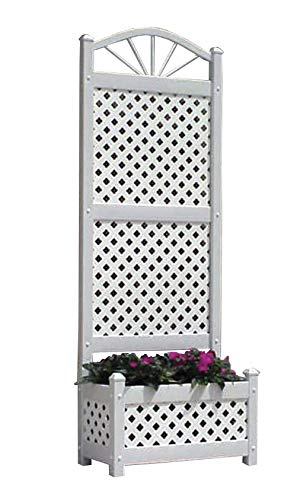 Sunburst Lattice Trellis - Dura-Trel Sunburst Lattice Vinyl Planter Trellis w