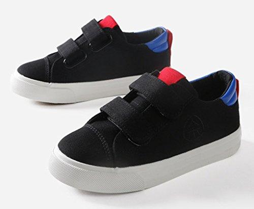 VECJUNIA Jungen Komfort Low-Top Runde Zehe mit Klettverschluss Kindergarten Sneaker (Kleine Kinder/Große Kinder) Schwarz