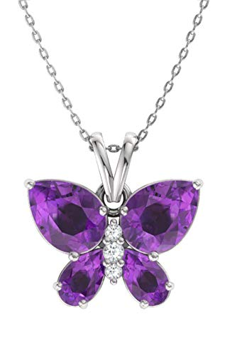 - Diamondere Natural and Certified Amethyst and Diamond Butterfly Petite Necklace in 14k White Gold | 1.11 Carat Pendant with Chain