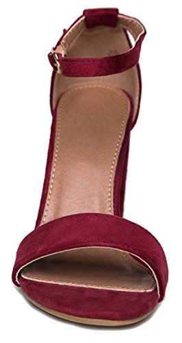 Pump Simple Formal Suede Chunky Wine Shirley Block Wedding Heel J Adams Classic Party Strappy High by n0qxzIHH