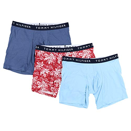 Tommy Hilfiger Mens Cotton Stretch Boxer Briefs 3 Pack (L, Hawaiian Blue)