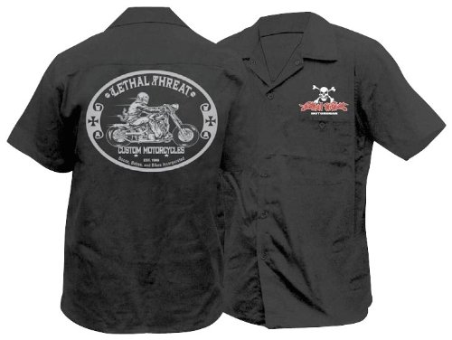 Lethal Threat Designs LT Custom Motorcycle Work Shirt Black XL