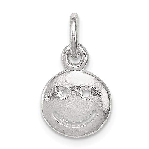 Mia Diamonds 925 Sterling Silver Solid Smiley Face Charm (11mm x 10mm)