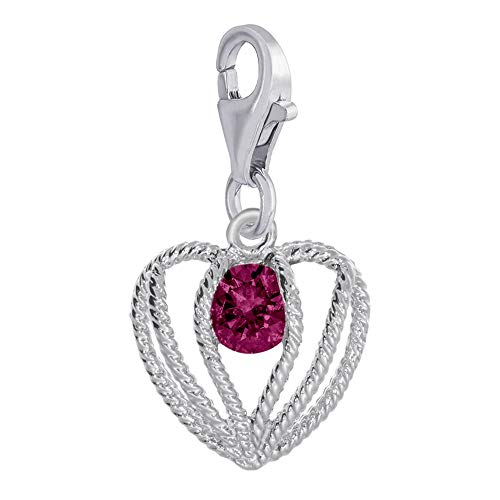 (Rembrandt Charms, Held in Love Heart, July Stone with Clasp.925 Sterling Silver)