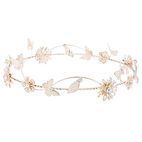 Gold Tone Crown (Lux Accessories Rose Gold Tone Metal Flower Floral Butterfly Leaf Crown Headband)