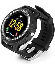 Technaxx TX-SW3HR Smartwatch voor volwassenen, uniseks, fitnesstracker, GPS, sporthorloge, stappenteller, hartslagmeter, zwart, M/L