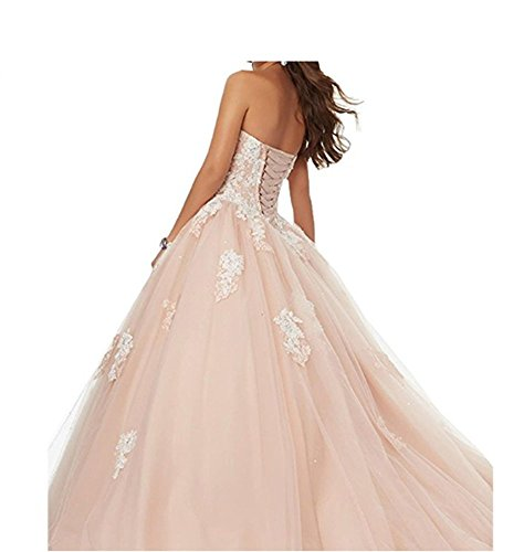 Women's Sweetheart Beaded Angela Lace Crystals Ball Quinceanera Gown White Dresses Zqfwdw