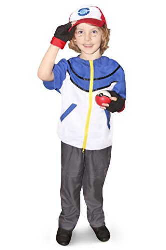 DAZCOS Kids Size Ash Ketchum Cosplay Costume with Cap and Golves (Child Medium) Blue -