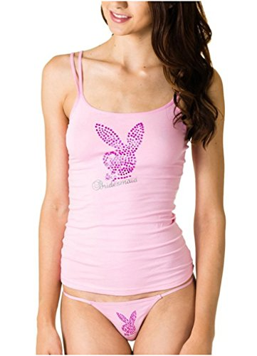 Playboy Junior's Bachelorette Bride or Bridesmaid Rhinestone Accent Classic Tank (Large, Pink/Dark Pink/Silver)