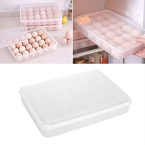 20/24/34 Compartimentos Frigorífico Huevera Bandeja Caja de Huevos Frigorífico Caja de Almacenamiento para Mantenimiento Fresco Rack de Huevos (Blanco, 24 Compartimento)