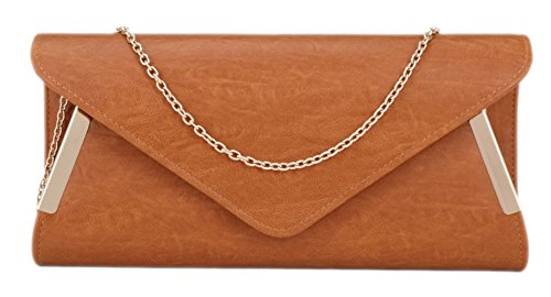 Girly HandBags Elegant Faux Leather Clutch Bag Sides Frame Party Prom Evening Ladies Bag Summer Colours Tan