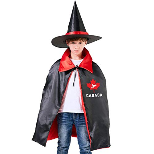 Wodehous Adonis Canada Leaf Snowmobile Kids Halloween Costume Cape Witches Cloak Wizard Hat Set -