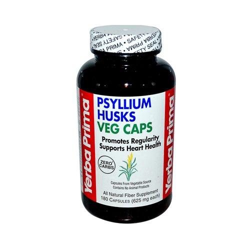2 Packs of Yerba Prima Psyllium Husks Veg Caps - 625 Mg - 180 Vegetarian Capsules