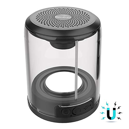 HoneyGrand Magnetic Bluetooth Speaker, Magnetic Connectable Base, Portable HD Enhanced Bass Wireless True Stereo, Loud Crystal Clear Sound Support AUX,Perfect Mini Speaker for Shower, Room, Car