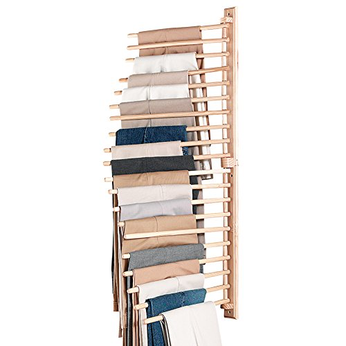 Why Choose Collections Etc Wall Mount Trouser Pant Closet Organization Rack, Brown