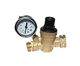 MMDetailz RV Water Pressure Regulator - Brass Lead Free Adjustable Water Pressure Regulator - With RV Water Screen Inlet, Pressure Gauge, A01-1117VP