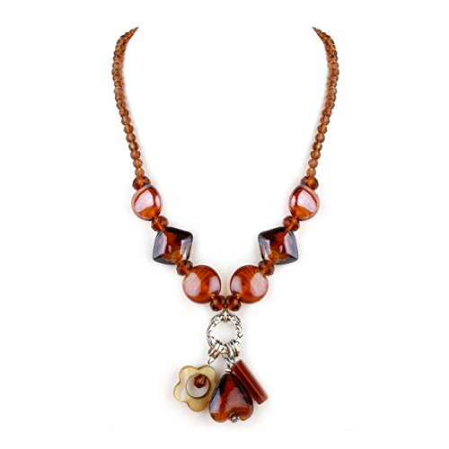 Fina Collection Amber Murano Glass with Crystals and Three Hanging Charms Necklace - Amber Murano Glass Crystal