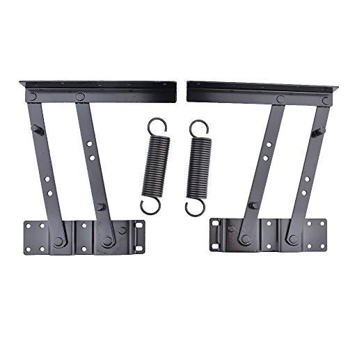 (YOMNEE 1 Pair Lift Up Modern Coffee Table Mechanism Hardware Fitting Furniture Hinge Spring Bracket Black )