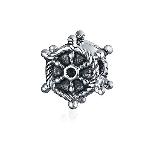 Nautical Vacation Boat Ship Wheel Charm Bead For Women For Teen Oxidized 925 Sterling Silver Fits European Bracelet ()