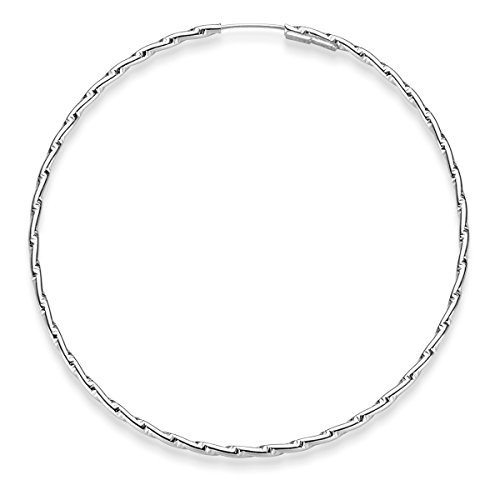 Paire de Boucles d'oreilles d'oreille avec structure 50x 1,2mm en or blanc 585