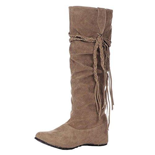 on Khaki Slip Round Women's Increaser Flat Inner Binying Boots Toe Tassel A0q1xv