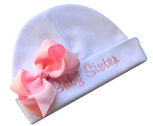 Personalized Embroidered Baby Girl Hat with Grosgrain Bow with Custom Name (White Hat/Pink Bow) - Embroidered Cap Embroidered Hat