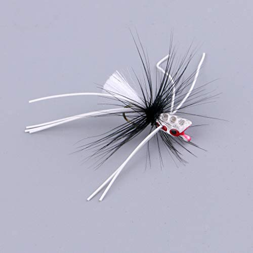 Ameglia 3pcs Popper Flies Fly Hook Trout Bass Bug Popper Fly Floating Fishing Flies (Color - White)