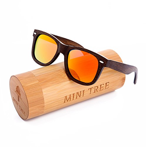 Mini Tree Polarized Handcraft Bamboo Sunglasses Wayfarer Vintage Shades For Men and Women (Black, Orange)