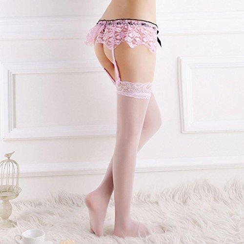 Unterwäsche-Sets,WINWINTOM Lace Strumpfband Gürtel Dessous Strumpf G-String Unterwäsche Rosa