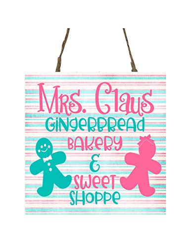 Pink Mrs. Claus Gingerbread Bakery Printed Handmade Wood Christmas Ornament Small Sign -  Twisted R Design