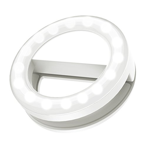 Selfie Ring Light, ORIA Clip-on LED Camera Light, Rechargeable Fill-light, 3-Level Adjustable Brightness On-Camera Video Light for iPhone, Samsung, Other Smartphone, Tablets, etc