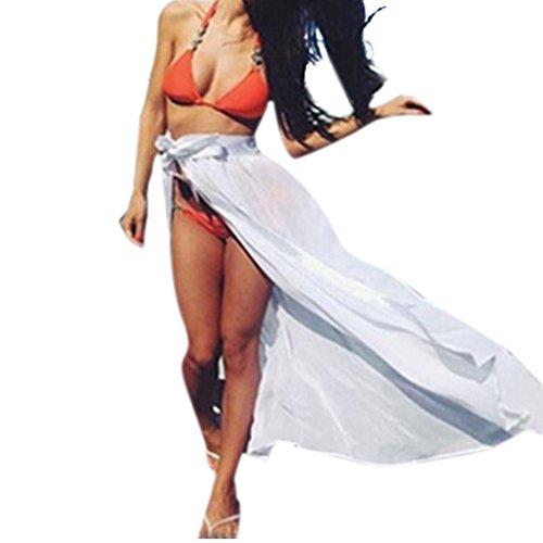 Las mujeres cubren para bikini, Ouneed Las mujeres de Gasa Wrap Dress pareo playa bikini traje de baño Blanco