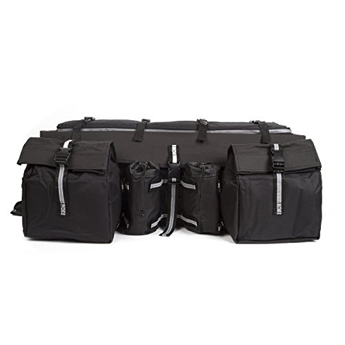 Atv Rear Cargo Bag - ATV Cargo Bag Rear Rack Gear Bag Made of 600D Waterproof Fabric with Topside Bungee Tie-Down Storage Padded-Bottom Multi-compartment Black