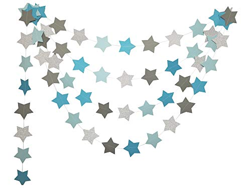 Orange Dolly Twinkle Twinkle Little Star Baby Shower Party Supplies-Baby Blue and Brown Baby Shower Hanging Wall Decorations-3in High 20 ft Double Sided Birthday Party Gender Reveal Garland Banner (Light Blue And Brown Baby Shower Decorations)