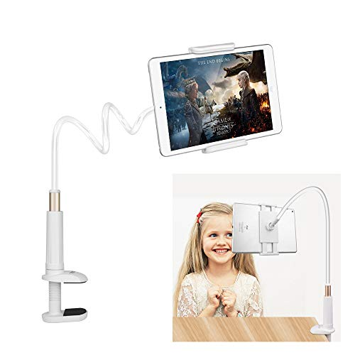 Tablet Stand Multi-Angle, FUTESJ Gooseneck Tablet Stand :Adjustable Clamp Mount Phone Holder with Lazy Arm for iPad, iPhone 6 7 8 X Plus, Nintendo Switch,Other Tablet (4-10.5inch)-White - Multi Angle Multi Clamp
