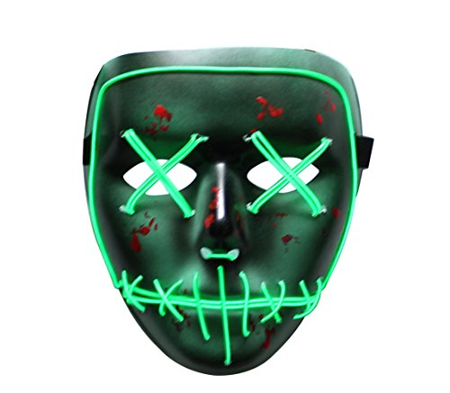 Halloween Scary Mask,heytech Cosplay Led Costume Mask EL Wire Light up for Festival Party (Green Stitches)