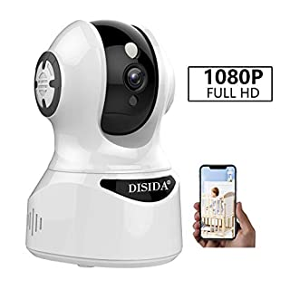 DISIDA 2M Smart for Home Office Dog Older Pet with Two Way Audio Motion Detection Night Vision PTZ Surveillance WiFi Wireless Indoor Alexa Camera