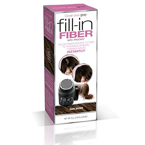 Cover Your Gray Pro Fill-In Fibers with Procapil - DARK BROWN: Hair Fibers for Thinning Hair, Hair Powder for Bald Spots, Baldness Cover up, Beard Filler, Hair Thickener, Hair Thickening