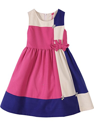 Bonny Billy Girls Fall Winter Skater Skirt Dress With Sash 3-4 Years Patchwork