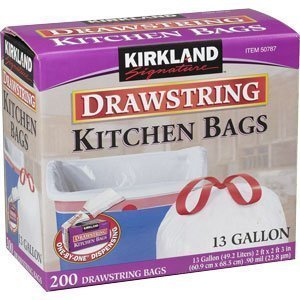 Kirkland Signature Drawstring Kitchen Trash Bags - 13 Gallon, 600 Count (3n11pzx)