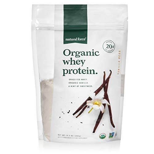 Natural Force® Organic Whey Protein Powder 14.3 oz. *Premium Vanilla Flavor* A2 Grass Fed Whey Protein Concentrate - Ranked #1 Best Organic Whey - Certified Keto, Paleo Friendly, Non-GMO and Humane (Best All Natural Whey Protein Powder)