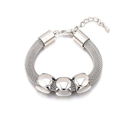 Yntmerry trend silver-plated adjustable size bracelet women High-end luxury titanium steel mesh-shaped geometric bracelet,White K