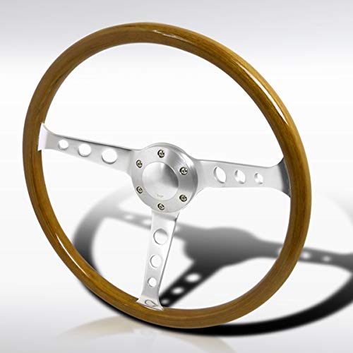 "Autozensation 370MM 14.75"" Aluminum Spokes Vintage Classic Wooden Wood Grain Steering Wheel"